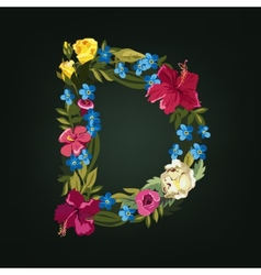 D letter flower capital alphabet colorful font vector