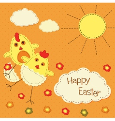 Easter background with funny chicks vector