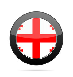 Flag of georgia shiny black round button vector