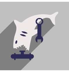 Flat icon with long shadow shark cartoon vector