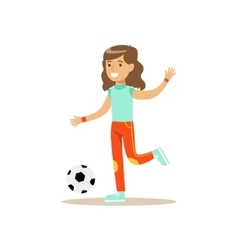 Girl playing football kid practicing different vector