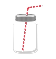 Glass jar with red straw vector