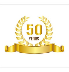 Golden 50 years anniversary with laurel wreath vector
