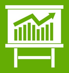 growing chart presentation icon green vector image