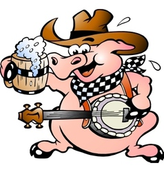 Hand-drawn of an pig playing banjo vector image vector image