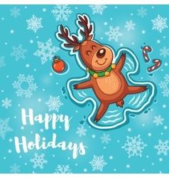 Happy Holidays card with cute cartoon deer - snow vector image vector image