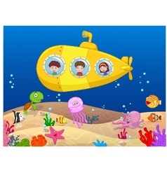 Happy kids in submarine vector image