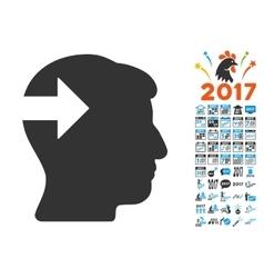 Head plug-in arrow icon with 2017 year bonus vector
