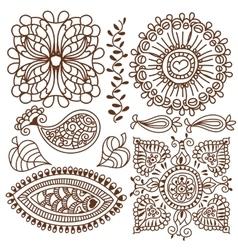 Henna tattoo doodle elements set vector image