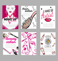 Make up shop poster set vector