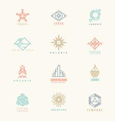 Minimal geometric vintage colors logo set vector