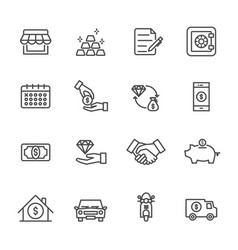 pawnbroker pawn shop icons set of thin line icons vector image vector image