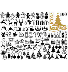 set of 100 christmas icons vector image vector image