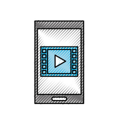 smartphone and video movie play social media vector image