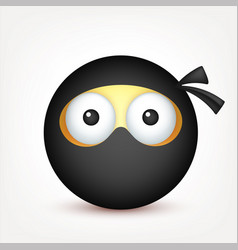 smiley ninja emoticon yellow face with emotions vector image