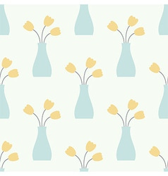 Vase with Flowers Vintage Seamless Pattern vector image vector image