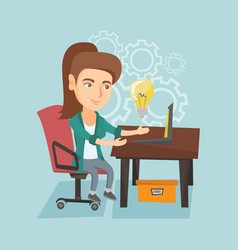 Woman working on a laptop on a new business idea vector