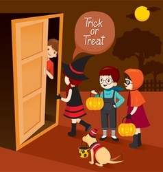 Trick Or Treat Children And Man Open Door vector image