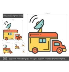 Broadcasting van line icon vector