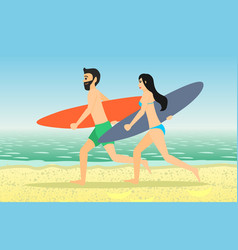 Male and female surfers running vector