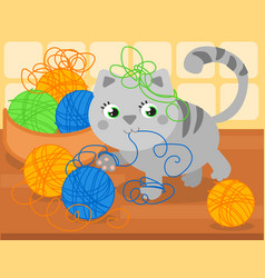 Cute kitty with wool ball vector