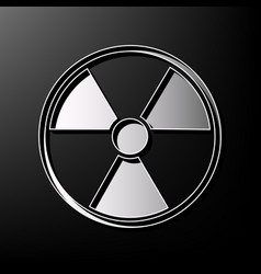 Radiation round sign gray 3d printed icon vector