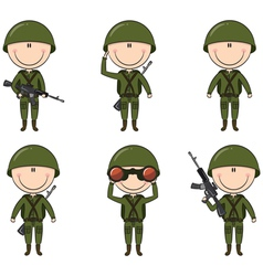 Soldiers in different poses vector