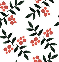 Watercolor seamless pattern ashberry vector