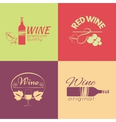 Set of wine labels badges and logos for design vector