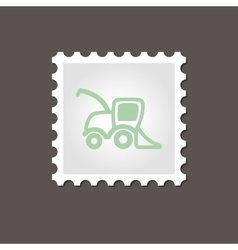 Combine harvester stamp outline vector