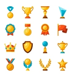 Sport or business trophy award icons set vector