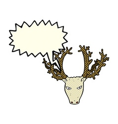 Cartoon stag head with speech bubble vector