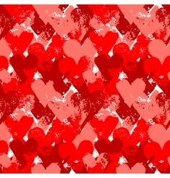 Red painted hearts on white seamless pattern vector