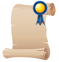 An empty paper with a blue ribbon vector image