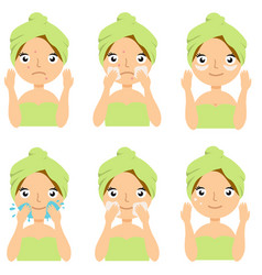 beautiful girl cleaning and care her face with vector image