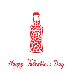 Beer bottle with hearts inside Happy Valentines Da vector image vector image