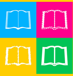 book sign four styles of icon on four color vector image vector image
