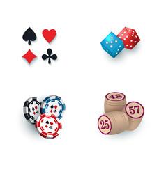 Casino symbols - suits bingo kegs tokens dices vector