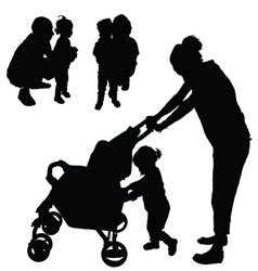 Children with mom and dad silhouette vector