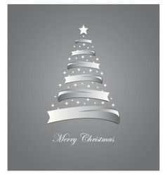 Christmas card with stylized white and silver tree vector
