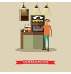 coffee machine in flat vector image vector image