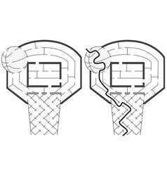 Easy basketball maze vector