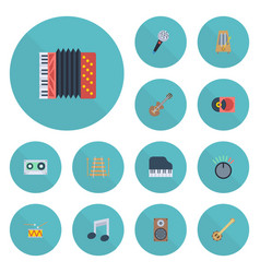 Flat icons knob banjo tambourine and other vector