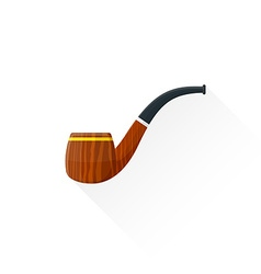 Flat tobacco pipe icon vector