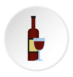Glass of red wine and a bottle icon circle vector
