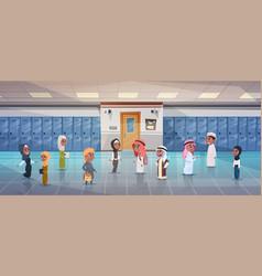 Group of arab pupils walking in school corridor to vector