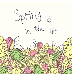 Hand drawn spring seamless border vector