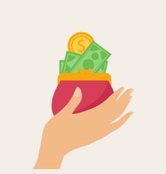 Hand holding a wallet full of money vector