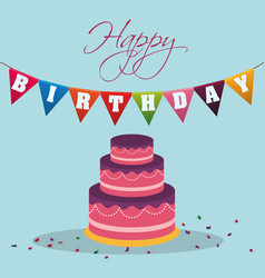Happy birthday cake pennant decoration confetti vector