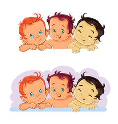little children of different vector image